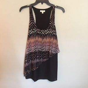 Fun printed dress with asymmetrical overlay